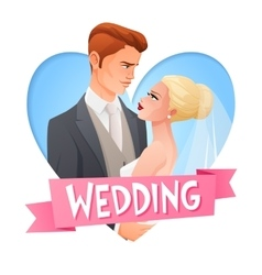 Wedding couple in love image with text vector