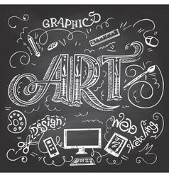 Art hand-lettering typography on chalkboard vector image vector image