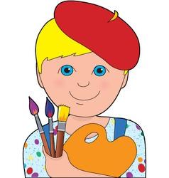 artist child boy vector image