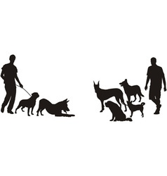 Men and dogs vector image vector image