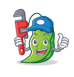 Plumber peas mascot cartoon style vector