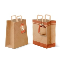 Shopping paper bags and sale labels template vector image
