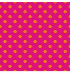 Tile pattern orange polka dots on pink background vector image vector image