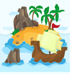 tropical island with palms and ship in ocean vector image