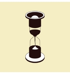 brown hourglass icon on beige background vector image vector image