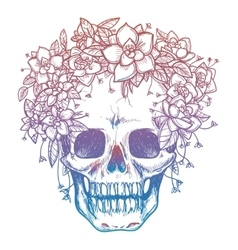 Colorfull skull and flower headdress vector image vector image