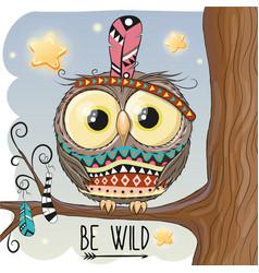 cute cartoon owl on a branch vector image vector image