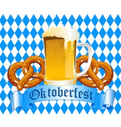oktoberfest celebration background with beer and p vector image vector image