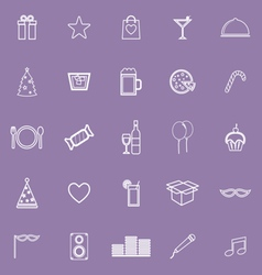Party line icons on violet background vector image