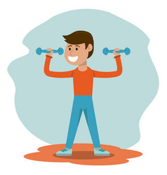 physical education - boy weight lifting physical vector image