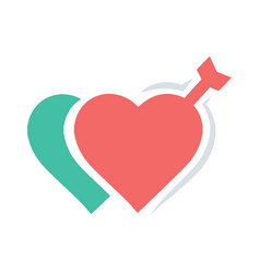 valentines two heart arrow red icon vector image vector image
