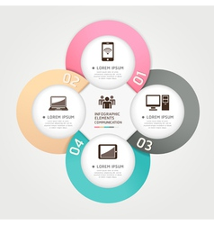 Communication technology infographics circle vector image vector image