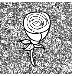 Doodle pattern with black and white flower image vector image vector image