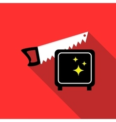 Magician sawing box icon flat style vector image vector image