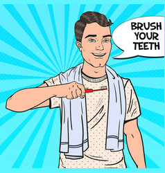 pop art happy man with toothbrush oral hygiene vector image vector image