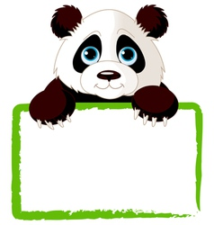 adorable panda looking over a blank sign vector image