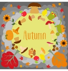 Autumn round with cute leaves mushrooms pumpkin vector image vector image