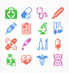 Color medical icons vector