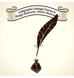 Feather pen ink Calligraphic ribbon roll letter vector image