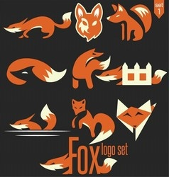 fox logo set 1 vector image vector image