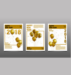 happy new year 2018 cover design template vector image vector image