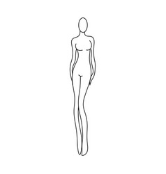 outline girl model template for fashion women vector image