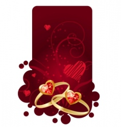 two rings on red frame vector image vector image