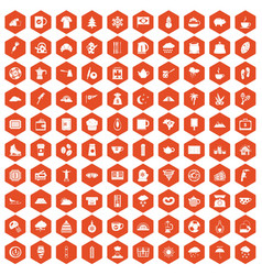 100 coffee cup icons hexagon orange vector