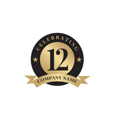 12th year anniversary emblem logo design template vector