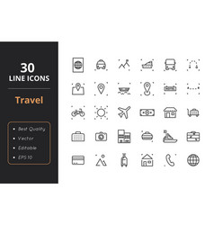 30 travel line icons vector image
