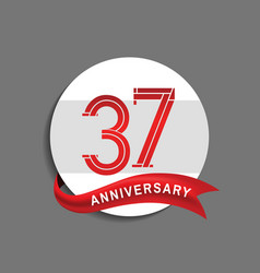 37 anniversary with white circle and red ribbon vector