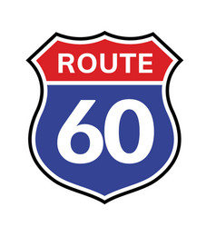 60 route sign icon road 60 highway vector