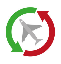Airplane flying service isolated icon vector