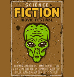 Alien green head poster for science fiction vector