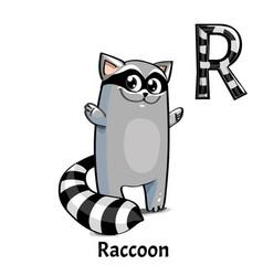 Alphabet letter r raccoon vector