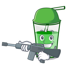army green smoothie character cartoon vector image
