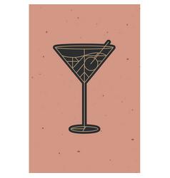 Art deco cosmopolitan cocktail powder coral vector