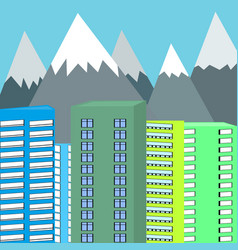 background of mountains and skyscrapers vector image