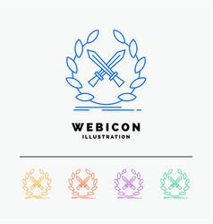 battle emblem game label swords 5 color line web vector image