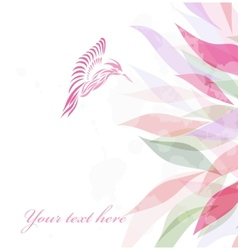 Beautiful pink hummingbird background vector image
