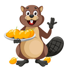 Beaver with mangos on white background vector