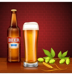 Beer Design Concept With Bottle And Glass vector image