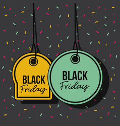 black friday promotional offer tags yellow and vector image