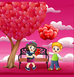 boys giving girls red a heart shaped air balloons vector image