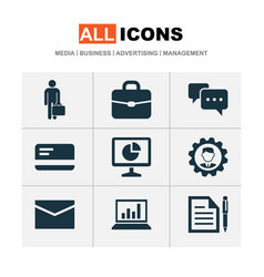 Business icons set collection of envelope vector