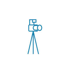 camera with tripod linear icon concept camera vector image
