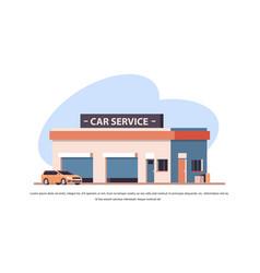 car repair service concept yellow vehicle near vector image
