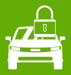 car with padlock icon green vector image