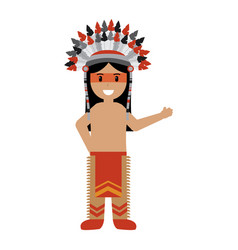 cartoon native indian american with traditional vector image