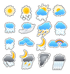 Cartoon weather color icons sticker set vector